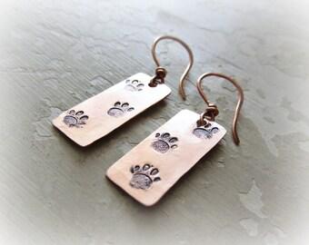 Paw Print Earrings, Stamped Earrings, Copper Dangles, Animal Print Earrings, Copper Earrings, Metalwork Copper, Paw Print Dangles