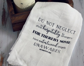 Screenprinted Tea Towel Hebrews 13:2