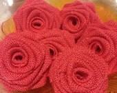 Coral Burlap Roses,Coral Burlap Flowers,DIY Burlap Wedding,Rustic Decor,Shabby Chic Rustic Baby Shower, Home Decor