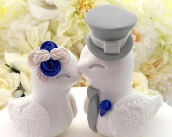 Love Birds Wedding Cake Topper, White, Cobalt Blue and Grey, Bride and Groom Keepsake, Fully Customizable