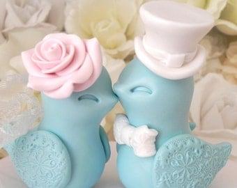Wedding Cake Topper, Love Birds, Aqua, Blush Pink and White, Bride and Groom Keepsake