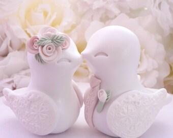 Love Birds Wedding Cake Topper, White, Ivory, Sage Green and Beige - Bride and Groom Keepsake, Fully Custom