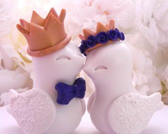 Love Birds Wedding Cake Topper, Ivory with Gold Crowns and Dark Purple Accents- Bride and Groom Keepsake - Fully Customizable