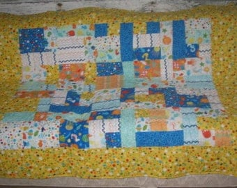 Pieced and Quilted Baby Quilt Ocean (fish) Theme