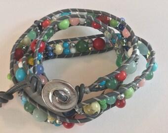 Grey Leather & Multi-color Gemstone Wrap Bracelet