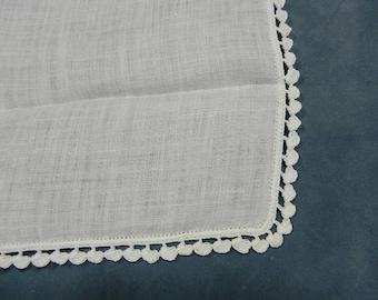 White Handkerchief with Delicate Crochet Hem