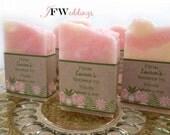 50 Vegan Soap Favors ~ Pink Floral Barn Chic ~ White Tea Ginger ~ Custom Label ~ Wedding ~ Bridal Shower ~ Handmade in 7 days