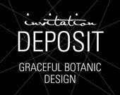 """Unique Invitations, Wedding Invitation Deposit, Botanic Invitation, """"Graceful Botanic"""" Invitation, Build-Your-Invite Collection -DEPOSIT"""