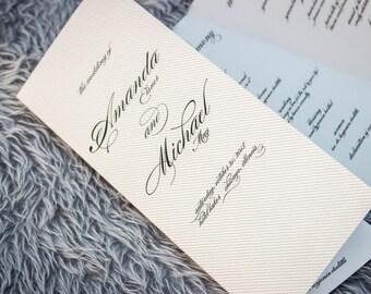 "Elegant Wedding Programs, Calligraphy Programs, Black Tie Wedding, Black and White Invitations - ""Modern Love"" Booklet Program - DEPOSIT"