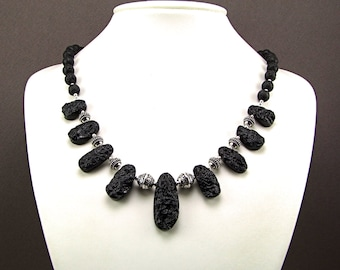 Stunning OOAK Tektite & Sterling Silver Statement Necklace - N758