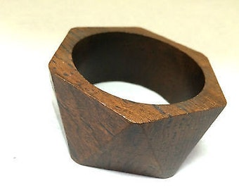 Wooden Bangle Square Shape Handmade Jewelry Unique Bracelet Dark Brown Authentic