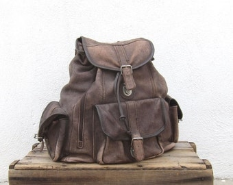 15% Off Out Of Town SALE Rucksack Backpack Large Rugged Chocolate Brown 1990s Bag