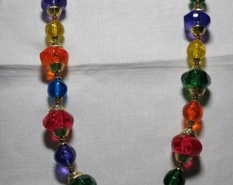Vintage multi jewel colored 22 inch necklace