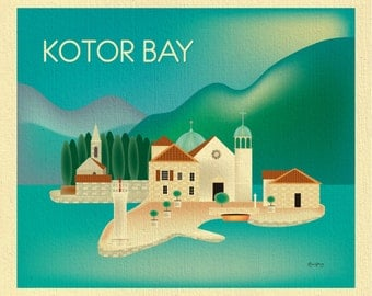 Kotor Bay Skyline Art Print, Montenegro  Print, Montenegro Wall Art, Bay of Kotor horizontal print,  Balkan Art, European - style E8-O-KOT