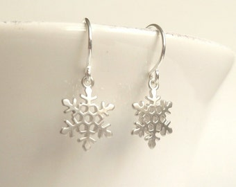 Silver Snowflake Earrings - silver plated sweet little flakes with delicate detail on simple ear hooks - Cold Snowy Winter Weather