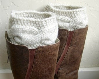Legwarmers boot cuffs - cable knit boot cuffs - cream boot cuffs - Winter Fashion - handmade legwarmers - Made in America - teenager gift