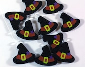 10 Little Wooden Black Witch Hats with Purple stars - Pendants - Jewelry Supply - Kids Crafts - Halloween Crafts