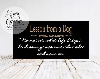 Lesson From A Dog Funny Handcrafted Sign, Funny Dog Sign, No Matter What Life Brings Sign