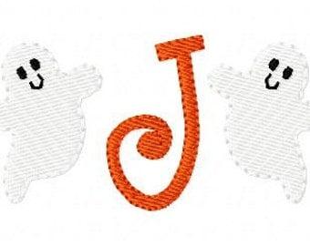 Ghost Fall Halloween Cute Mini Monogram Machine Embroidery Design Font Set Joyful Stitches // Joyful Stitches