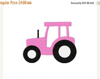 SALE INSTANT DOWNLOAD Pink Tractor Machine Embroidery Design