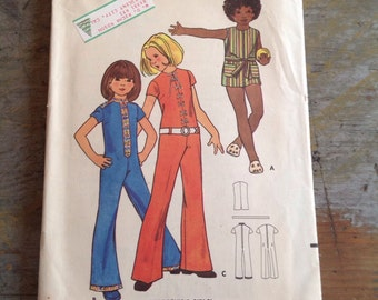 Butterick 6165 Sewing Pattern Childrens & Girls Jumpsuit 9 Pieces Size 4
