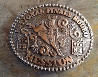 Fred Fellows National Finals Rodeo Hesston 1984 Belt Buckle