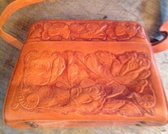 Vintage Deer Products Tooled Leather Purse Bag