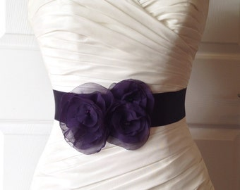 Lapis Bridal Sash, Purple Bridal Sash Dark Eggplant Bridal Sash, Purple Wedding, Purple Wedding Sash, Purple Bridal Accessories, Breanna