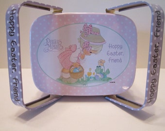 Precious Moments Vintage Hoppy Easter, Friend - Basket Style Tin - Collectible Precious Moments Tin - Giftco 1986