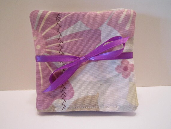 CLEARANCE - Fabric Drink Coasters - Pink Lavender Sage Gray Taupe Floral - Set of 4