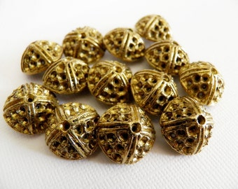 Vintage Buttons Heavy Metal Gold Dozen