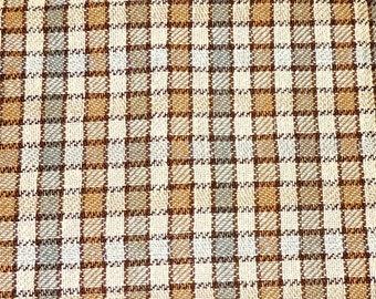 vintage tweedy plaid fabric 2.5 yards