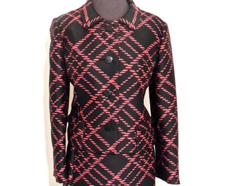 vintage silk skirt suit - 1940s-50s Estelle Vogue black/red jacket & skirt set