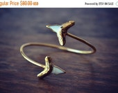 VALENTINES SALE Lux Divine /// Double Shark Tooth Wrap Gemstone Bracelet /// Gold