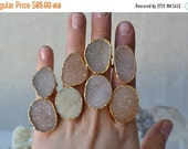 VALENTINES SALE DRUZY Love /// Stackable Druzy Gold Electroformed Ring /// Sizes