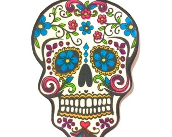 Sugar skull day of the dead iron on applique