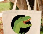 Dinosaur Tote Bag  T rex Canvas Tote Bag
