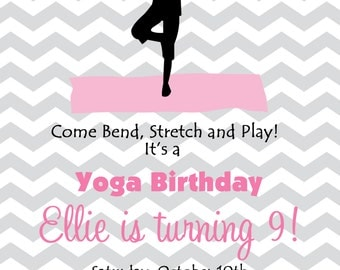 Yoga Birthday Party Invitation  Yoga Party