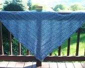 Knit Shawl Prayer Shawl or Healing Mantle Wedgewood Country Blue