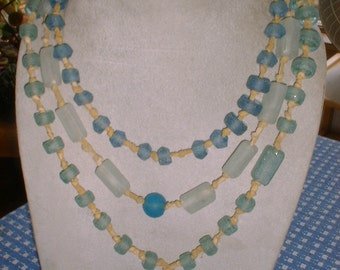 Choice of Beach Glass Beads NECKLACE on Deerskin Thong