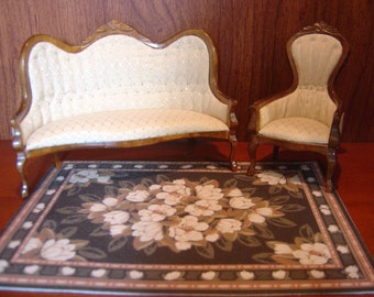 Dollhouse magnolia rug black creamy white 1:12 scale