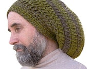 Warm, Woolly Dread Hat in Warm Shades of Green Lichen, Vegan