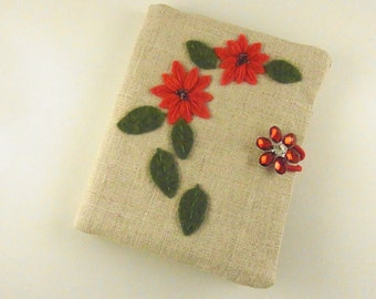 Poinsettia Tea Wallet Christmas Embroidered Wool Blend Felt with Seed Beads SALE