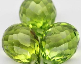 3 Pcs. Beautiful Natural Gem Briolette Drill Top Lime Green Peridot - Free shipping
