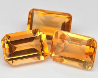 3 Pcs. Remarkable Genuine Gem Octagon Golden Yellow Citrine - Free shipping