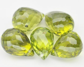5 Pcs. Genuine Earth Mined Gem Briolette Drilled Lime Green Peridot - Free shipping