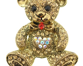 Golden Teddy Crystal Pin Brooch 1005262