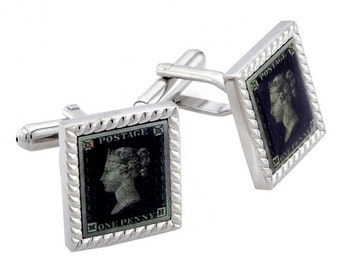 One Penny Stamp Cufflinks Green Postage Cuff-links 1200272