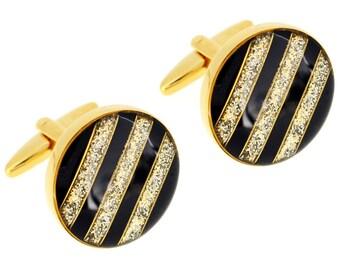 Black And Golden Sparkles Stripes Cufflinks 1200521
