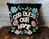 Vintage God Bless Our Home Feather Pillow